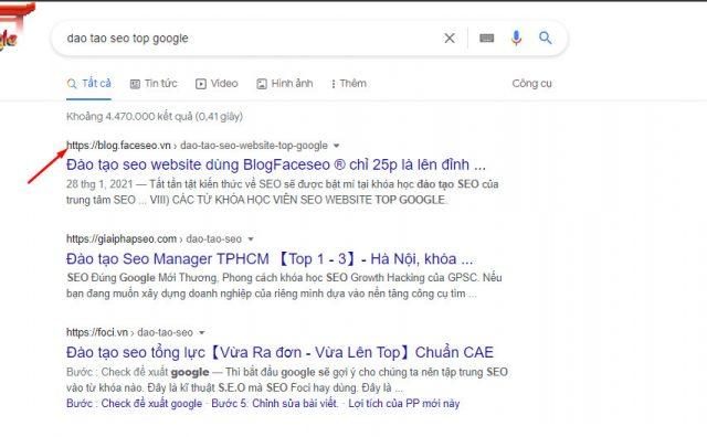 Từ khóa đào tạo seo top Google