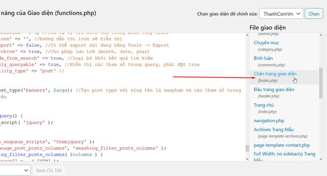 code dan vao wordpress