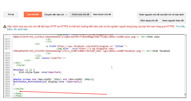 dan code vao phan chan cua web