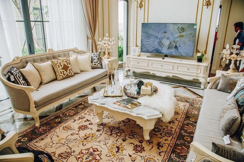 thiết kế nội thất biệt thự Swanbay - phòng khách 1