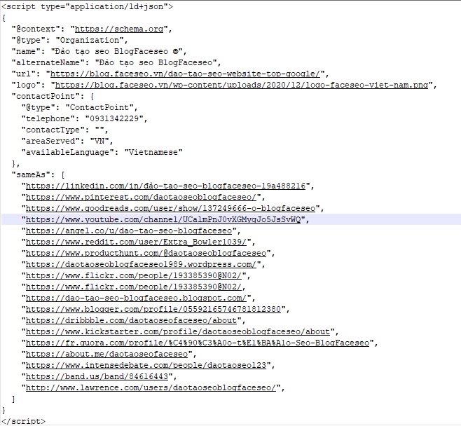 Tạo code Schema khai báo Entity cho website