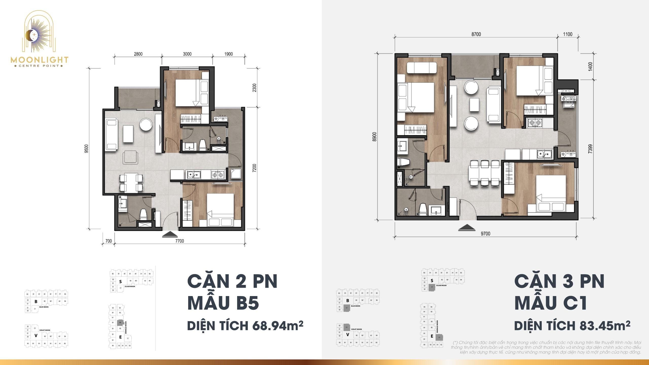 Thiết kế căn hộ mẫu 2PN Moonlight Centre Point
