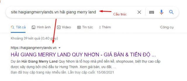 Cấu trúc kiểm tra tiêu đề bài viết trên google
