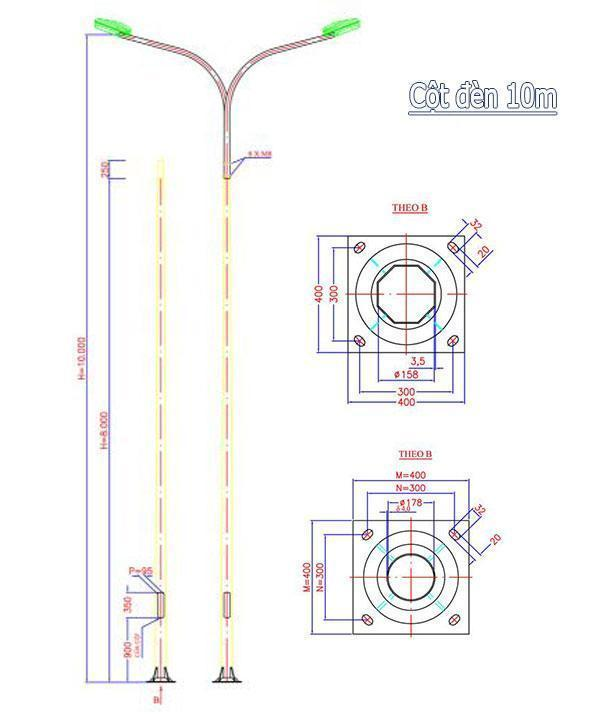 mẫu trụ đèn cao áp 10m ra đời đang được rất nhiều chủ đầu tư lựa chọn cho công trình dự án.
